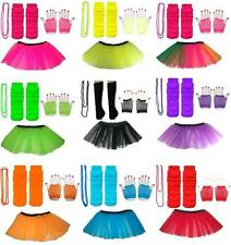 NEON TUTU SKIRT SET SHORT GLOVES LEGWARMERS BEADS NECKLACE OUTFIT 80S COSTUME