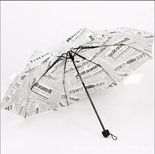 Hot sell Newspaper style Womens rain Umbrella folding parasol White Black