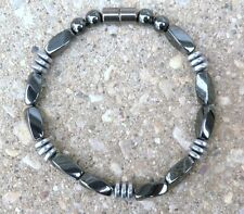 Mens Womens Powerful 100% Magnetic Bracelet Anklet Black n Silver Hematite 1 Row