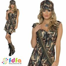 FEVER SEXY CAMO ARMY SOLDIER GIRL - UK 8-18 - womens ladies fancy dress costume