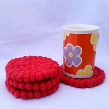10cm (4inch) Strawberry Colour Nepalese Handmade Round Felt Ball Tea Coasters
