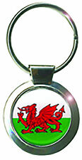 Welsh Round Bag Purse Metal Keyring Charm Wales Cymru National Flag Dragon