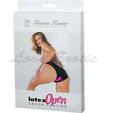 LATEX RUBBER OPEN CROTCH CROTCHLESS KNICKERS PANTIES Black Sizes 8/10/12