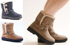NEW LADIES WOMENS SNOW WINTER FLAT MID CALF BUTTON BUCKLE BOOTS SHOES SIZE 3-8