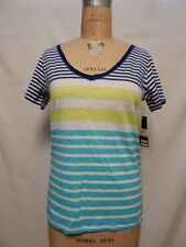 Tommy Hilfiger V-neck Striped Short Sleeve Sleep Top Blue Multi NWT