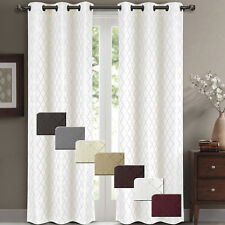 Willow Pair (Set of 2) Jacquard Blackout Thermal Insulated Window Curtain Panels