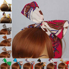 Women Ladies Rockabilly Hair Bands Head Wrap Vintage Headbands Wired Retro Scarf