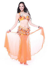 Professional Belly Dance Costume 2 Pics Set Bra&Skirt 34B/C 36B/C 38B/C 5 Colors