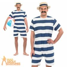 Mens Old Time Bathing Suit 1920s Victorian Beach Swimsuit Fancy Dress Costume