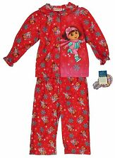Baby Girls Dora the Explorer snowflakes 2pc fleece pjs button up shirt pants set