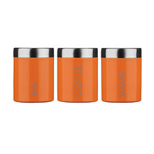Amazing New Orange Tea Coffee Sugar Kitchen Pots Canisters jars Fast Delivery