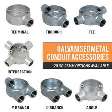 CHOICE OF METAL CONDUIT BOXES 1 WAY - 4 WAY GALV BOXES 20MM OR 25MM FITTINGS