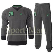 Boys Nike 79 Print Crew Neck Tracksuit Dark Grey/Green Fleece Suit Kids Size