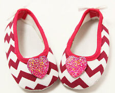 Hot Pink Chevron Baby Crib Shoes with Hearts- Newborn, 3-6 Months, 6-12 Months