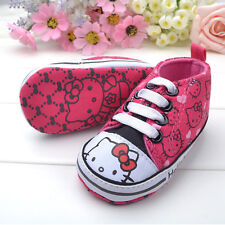 New HELLO KITTY Soft Sole Baby Girl's Pink High Top Crib Shoes. Age 0-18 Months