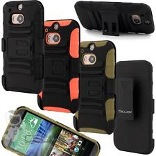 Rugged Double Layer Hybrid Hard Case Belt Clip Holster Kick Stand for HTC ONE M8