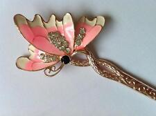 1 pc Free shipping lady enamel butterfly hair stick clip, Rhinestone hairpin