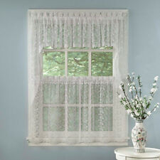 Elegant White Priscilla Lace Kitchen Curtains - Tiers, Tailored Valance or Swag