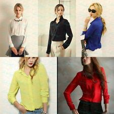 2015 Hot Women's Loose Long Sleeve Chiffon Casual Blouse Shirt Tops&Blouse