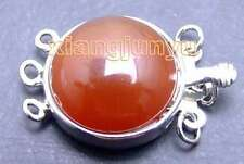 SALE Big 18mm Round Natural Red Agate Three strands Clasp-gp185