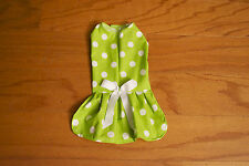 Medium Green & White Big Dots  Dress - Dog dress clothes- Puppy Apparel