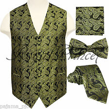Olive Green Paisley Tuxedo Dress Vest Waistcoat & Neck tie & Bowtie And Hanky