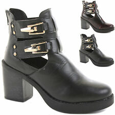 LADIES WOMENS MID HIGH HEEL BLOCK PLATFORM ANKLE LOW CHELSEA BOOTS SHOES SIZE