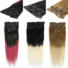 Premium Dip Dye Ombre Remy Clip in Human Hair Extensions All Colour Beauty Style