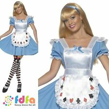 ADULT ALICE IN WONDERLAND DECK CARDS - UK 8-18 -women ladies fancy dress costume