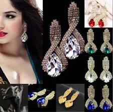 NOBLE LADY RHINESTONE TEARDROP CRYSTAL DROP BRIDAL GLAMOUR WEDDING STUD EARRINGS