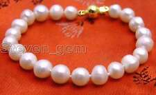 "SALE Big 8-9mm High luster natural White freshwater Pearl 7.5"" bracelet -bra233"