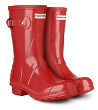 Hunter ORIGINAL SHORT GLOSS Womens Military Red Rubber Waterproof Rain Boots
