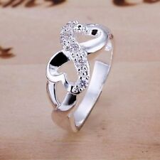 Womens Hot Jewelry 925 Sterling Silver Plated Crystal Band Solid Ring US Size