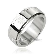 FAMA 8mm Stainless Steel 316L Iron Cross Center Spinner Ring Band Size 9-13