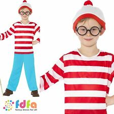 WHERES WALLY & GLASSES + HAT BOOK DAY age 4-13+ kids boys fancy dress costume