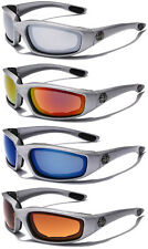 Mirror Lens Silver Men Choppers Padded Motorcycle Goggles Sport Biker Sunglasses