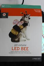 DOG LED QUEEN BEE PET COSTUME PARTY OUTFIT BLACK & YELLOW M LARGE L XL LEAD BEE
