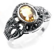 Sterling Silver Marcasite Synthetic Citrine Ring