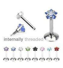 16G CZ internally threaded labret piercing star surgical steel colourful lip ear