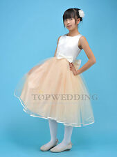 Formal Kids Bowknot Bridesmaid Flower Girl Dress Wedding Party Pageant Champagne