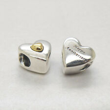 Authentic Genuine Silver HAPPY ANNIVERSARY HEART SILVER CHARM WITH HEART Bead