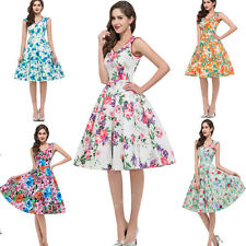 Women Vintage Retro Housewife 50s Party Prom Pinup Rockabilly Swing Floral Dress