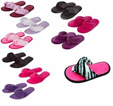 Ladies/ Womens,Comfy Fluffy Faux Fur Flip Flop Slippers. size 3-8 Perfect Gift