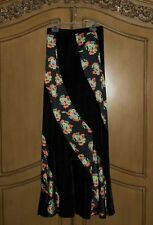 FREE PEOPLE BOHO INDIE LONG Black Velvet & Floral SKIRT MIDNIGHT MSRP$148~ NWT