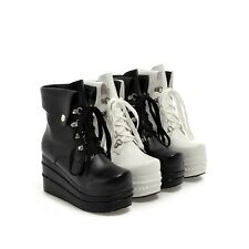 Womens Platform Round Toe High Top Heels Shoes Lace Up Sneakers Boots Plus SZ