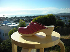 Authentic Swedish wood  Clogs by Maguba RED LEATHER