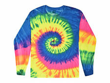 Neon Rainbow Tie Dye T-Shirts, Youth XS - Youth L, Long Sleeve, 100% Cotton
