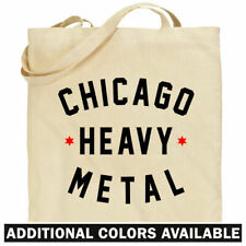 Chicago Heavy Metal Tote Bag - HVY MTL Chi Town IL Shopping Shoulder Bag - NEW