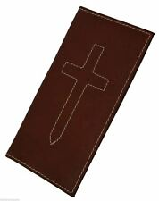 Brand New Hand Crafted Genuine Soft Leather Cross Sign Checkbook Cover