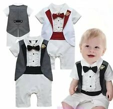 Baby Boy Wedding Shower Christening White Tuxedo Suit Outfit Cloth NEWBORN 0-18M